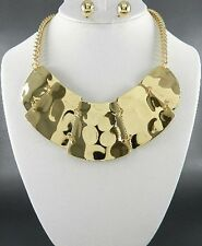 Shiny Gold Tone Hammered Look Cleopatra Style Necklace Earring Set