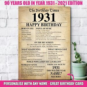 1931 90th Personalised Birthday Greeting Card Back In Edition Ago Milestone -140
