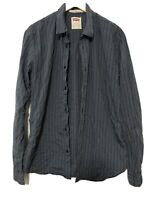 Levis Navy Blue Mens Shirt Long Sleeve Stripes Size XL Tall (D446)
