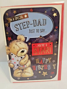 STEP DAD BIRTHDAY CARD - TO A SPECIAL STEP DAD - JUST TO SAY YOUR A STAR 19 X 13