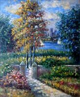 Quality Hand Painted Oil Painting Riverside Park 20x24in