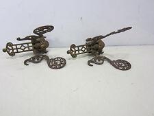 2 Antique Ornate Butterfly Shaped Brass Hat/Coat Hooks
