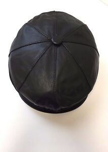 Leather Flat Cap Genuine 100% NEW Buttoned 8 Panel Soft Elasticated Sizes(M-XXL)