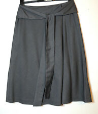 GREY LADIES FORMAL TAILORED WRAP SKIRT WITH BELT SIZE 10 LIME A-LINE FULLY LINED