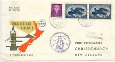NETHERLANDS ILLUSTRATED AIR-RACE COVER 8/10/53 SG790a X 2 & 691; TO NEW ZEALAND.