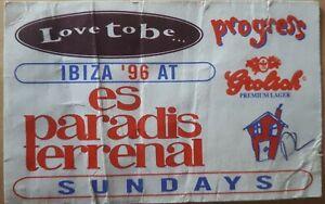 "love to be ""progress"" 21.7.96 @ es paradis ibiza club rave flyer"