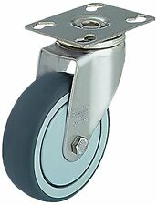 J.W. Winco 126HLTF/FIFK Caster, Wheel: Gray Thermoplastic Rubber, Smooth Rolling