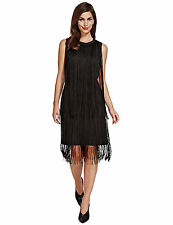 New TWIGGY Black Flapper Style Sleeveless Fringe Shift Dress Sz UK 14