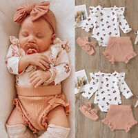 Newborn Infant Baby Girls Flower Print Clothes Romper Pants Hairband Outfits Set