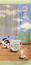 JAPANESE Noren Curtain CAT KINGYO MADE IN JAPAN 85x170 LONG SIZE