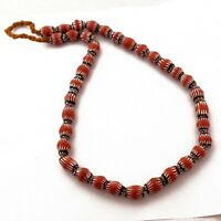"Chevron Glass Trade Beads Necklace 24"" Tribal Ethnic From Nepal UN03"
