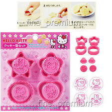 Authentic Japanese Hello Kitty Bento Cookie Cutter Mold Stamp Set