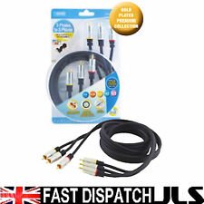 3 PHONO TV VIDEO CABLE GOLD PLATED CONNECTORS 1.5M