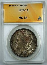 1879-S Morgan Silver Dollar Coin, ANACS MS 64, Toned, JT