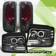 1992-1996 Ford Bronco/F150/F250 LED Halo Projector Headlights+Smoke Tail Lights