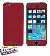 STICKER AUTOCOLLANT IPHONE 5 5S SE DESIGN CUIR 3D ROUGE FULL BODY