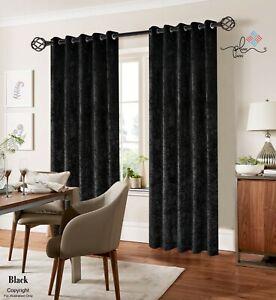 Black Crushed Velvet Curtain - fully lined - Eyelet Ring Top- Various UK Sizes