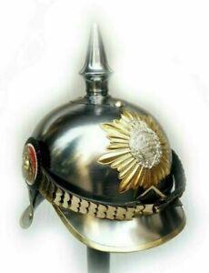 German Pickelhaube Steel & Brass Helmet Prussian Military Spike Helmet WW1