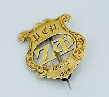 1862 14K Zeta Phi Fraternity Pin Philadelphia College Pharmacy Antique Rex Gold