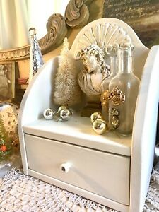 Antique Vtg Wood Apothecary Child Cupboard Hutch Jewelry Cabinet CREAMY WHITE!