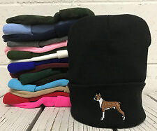 BOXER DOG Embroidered Cap Hip Hop Beanie Cuffed  - Multiple Colors