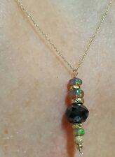 Huge black Diamond Ethiopian black fire opal pendant necklace solid 14k gold