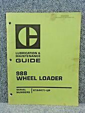 Oem Caterpillar Cat 988 Front End Wheel Loader Lubrication Amp Maintenance Manual