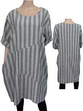 Gr.46/48 Kleid Leinenkleid Sommerkleid Kurzarmkleid gestreift Grau/Weiß ITALIEN
