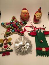 Lot Of Six Vintage Christmas Ornaments Reindeer Star Angel Santas tinsel mercury