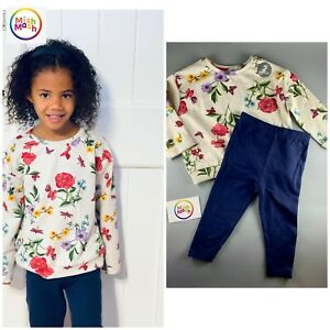 NEW peacocks girls 2 piece floral baby butterfly jumper & leggings set outfit