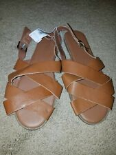 girls brown  faux leather sandles size 4 by old navy. NWT