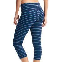 Athleta Chaturanga Capri Leggings Blue Stretch Stripes Elastic Waist Size XS EUC