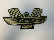 "FORD 427 METAL SIGN YELLOW/BLACK WITH CHECKERED FLAG 12"" X 6"""