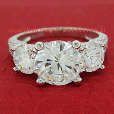 Cubic Zirconia Solitaire Not Enhanced White Gold Fine Rings