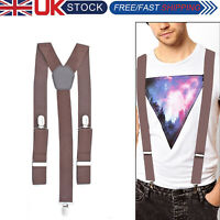 35mm Unisex Men Braces Chocolate Brown Wide Heavy Duty Suspenders Adjustable