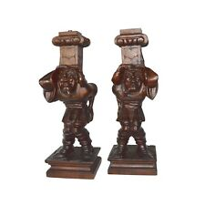 French Antique  Pair Of Hand Carved Wood Architectural Support Posts Pillars