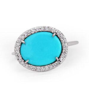Turquoise Gemstone Pave Diamond Wedding Ring 14k White Gold Handmade Jewelry NEW