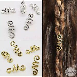 5x Dreadlock Spiral Rings Braids Bead Silver Gold Hair Cuffs Dreads Accessories