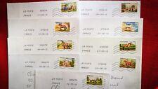 """9 timbres oblitérés sur lettre , thème """" les chevaux de trait """" 2013"""