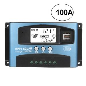 100A MPPT 12V 24V Auto Dual USB Solar Panel Battery Regulator Charge Controller