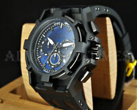 Invicta 52mm Akula Chronograph Dark Blue Dial All Black Silicone Strap Watch NEW