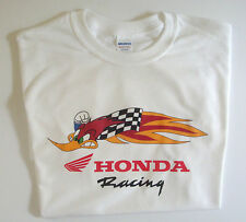 T-shirt white Honda racing roadrunner 100% cotton size large