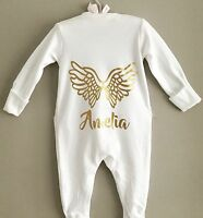 PERSONALISED Funky GOLD Angel Wings babygrow sleepsuit new baby gift ANY NAME