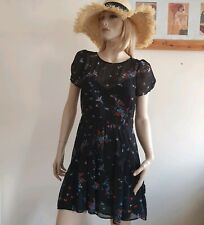 Monsoon Fusion chiffon floral dress with puff short sleeves Size 12
