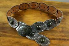 Fossil Concho Metallic Bronze Leather Belt Southwest Boho Festival - Sz M