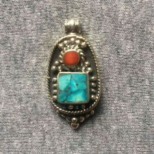 PD-303 Antique Style Nepalese Tibetan White Metal Turquoise Coral Drop Pendant
