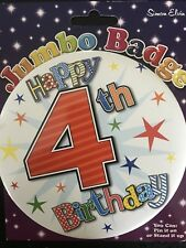 Boys 4th Birthday GIANT BADGE 15cm * STARS * Orange 4  * Party * Hook on clip