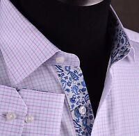 Mens Blue Pink Checkered Formal Business Dress Shirt Luxury Designer Sexy Floral
