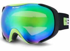 BLOC Matte Green Mask Ski Snowboarding Goggles Brown With Blue Revo Mirror Mk8