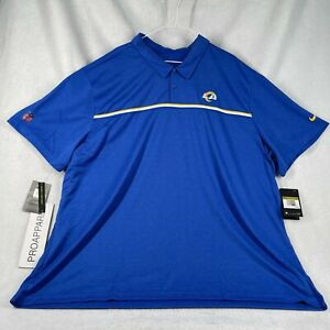 Nike LA Los Angeles RAMS Official on Field Apparel Blue Polo Size 4XL NWT